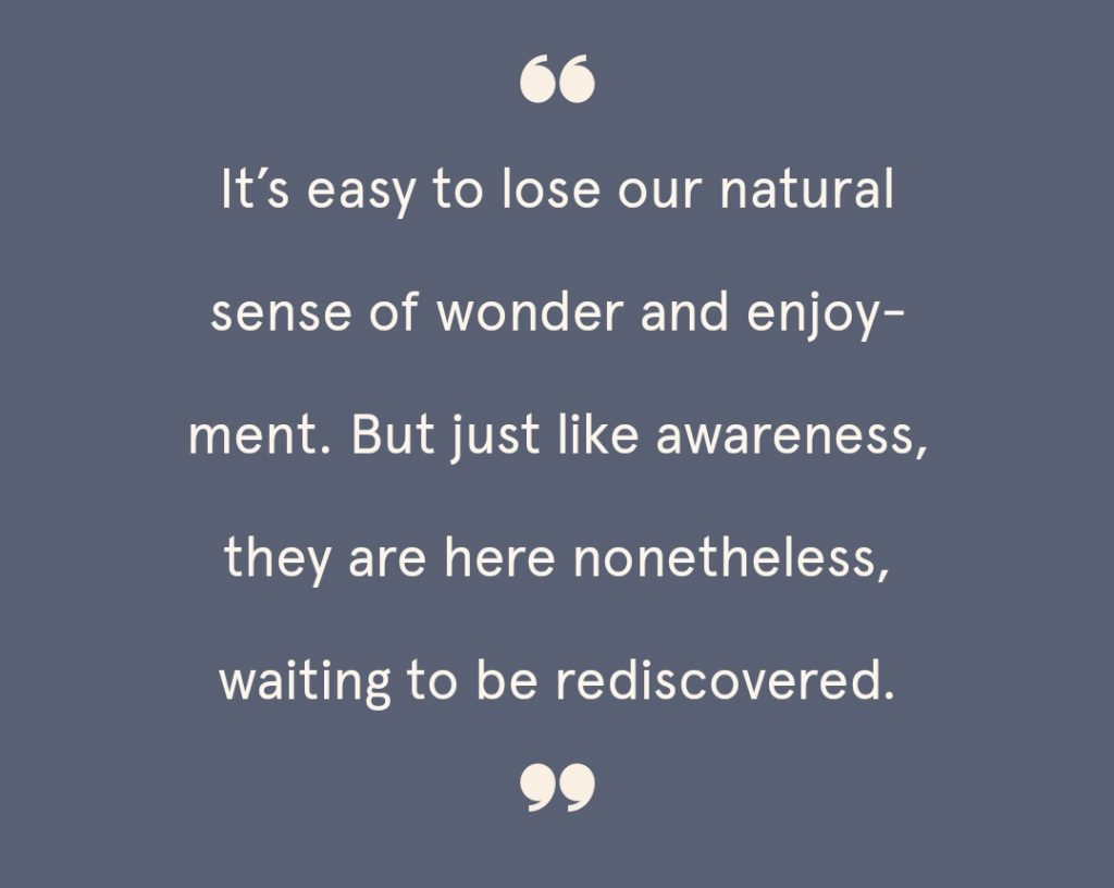 "Quote graphic reading, ""It's easy to lose our natural sense of wonder and enjoyment. But just like awareness, they are here nonetheless, waiting to be rediscovered."