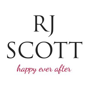 "Logo for RJ Scott reading ""RJ Scott happy ever after"""