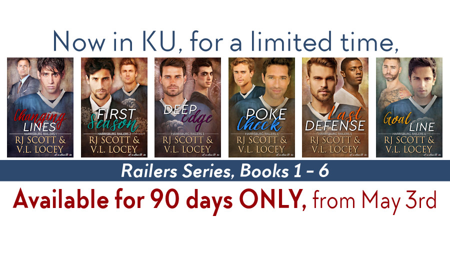 "Book promo graphic featuring 6 book covers. Text: ""Now in KU, for a limited time, Railers Series, Books 1-6; Available for 90 days ONLY, from May 3rd"