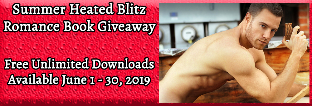 Shirtless muscular guy leaning over a table drinking coffee. Text: Summer Heated Blitz Romance Book Giveaway, Free Unlimited Downloads Available June 1-30, 2019